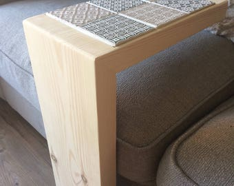 Wooden, Tiled, Coffee table, Arm rest, Drinks rest, Side table,