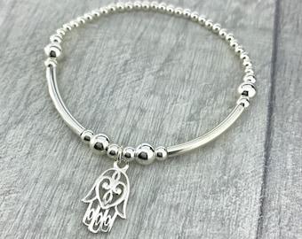 Silver Hamsa Bracelet/Hamsa Hand Bracelet/Hand of Fatima Bracelet/Sterling Silver Hamsa Bracelet/Sterling Silver Stretch Bracelet/Bohemian