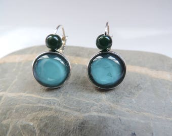 Earrings cabochon polished emerald green cat's eye ღ ღ ღ ღ