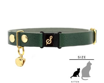 "Kitten Collar, Leather with Safety Breakaway Buckle - ""Emerald"" // PRIMARY collection"