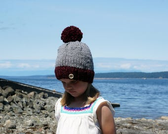 Handmade, chunky knit, child hat, with pompom, custom colors available