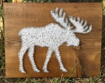 String Art Moose, Moose decor, Woodland Nursery, Woodland Baby Shower, Woodland Nursery Decor, Woodland Animals, Rustic Wood Decor, Wildlife