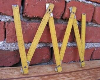Folding Wooden Ruler, Yellow Carpenter Measurer Folding Meter, Yellow Expandable Carpenter Measurer, Industrial Ruler, Farmhouse Decor