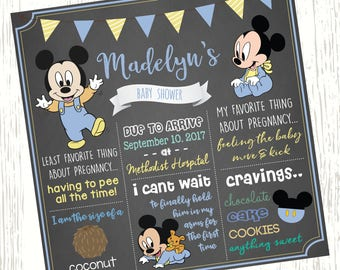 Mickey Mouse Baby Shower Chalkboard Sign Mickey Mouse Chalkboard