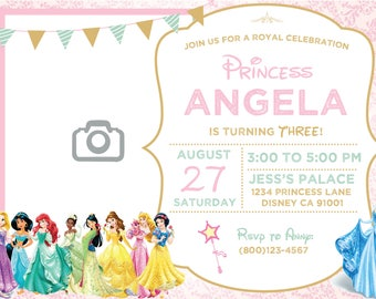 Disney Princess Invitation, Disney Princess Birthday Invitation, Princess Invitation, Princess Invitation Birthday, Girl Birthday Invitation
