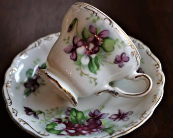 Vintage Demitasse Cup and Saucer - Violets - Richard of Japan