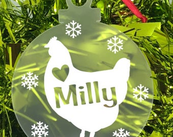 Personalised Chicken Christmas Bauble Decoration Gift with Donation