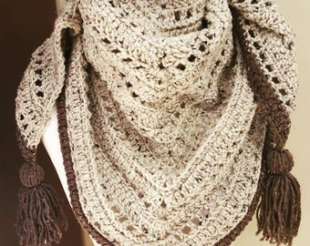 The Weekender- Triangle Bandana Style Scarf in Oatmeal & Chocolate- Crochet