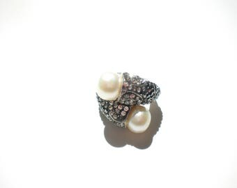 Marcasite Double Pearl Ring 925 CFJ