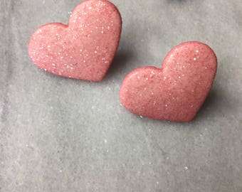 Pale pink sparkly heart earrings