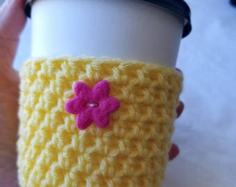 Flower Power Springtime Crochet Cup Cozy - Small Pink Felt Button Everyday Cup Sleeve in Buttercup