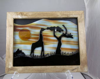 African Sunset Silhouette in fused glass