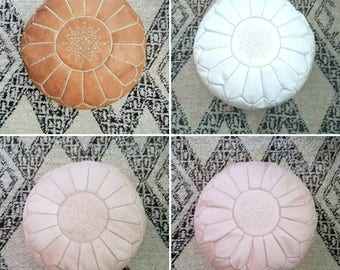 Moroccan round leather pouf w/ embroidery