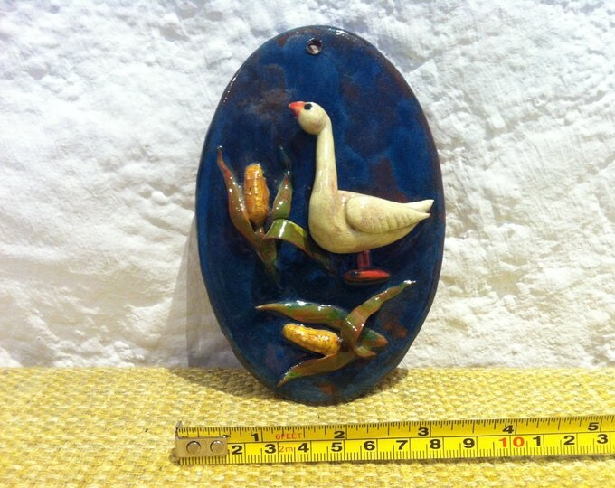 Vintage wall plate goose ceramic dekoration beautiful painted