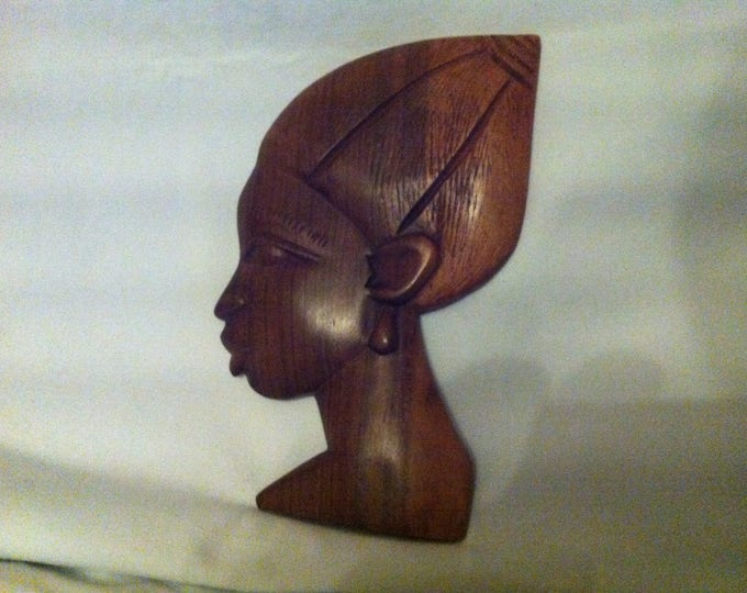 Vintage German head wall mask beautiful wood woman decoration