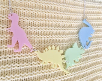 Dinosaur Acrylic Necklace In Rainbow Pastel