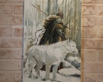 Abstract painting Viking with wolf