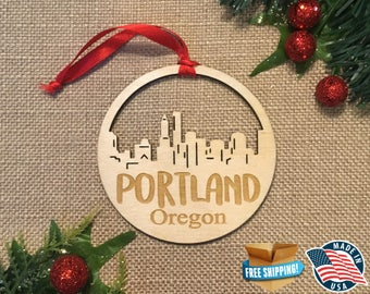 Portland Oregon Ornament *** Skyline Christmas Holiday Ornament *** OR