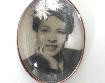 Billie Holiday hand embroidered brooch