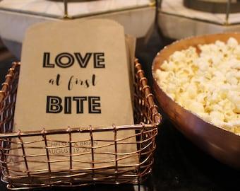 Wedding Popcorn Bags - Love at first Bite