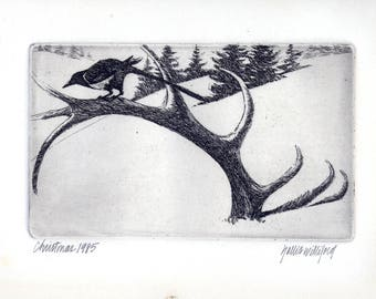 Christmas '85 Signed Hollis Williford Etching