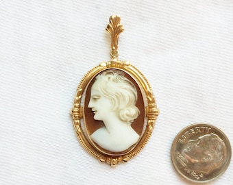 "Estate 10K Yellow Gold Vintage Resin Shell Cameo Pendant Victorian 1-3/4"" long 3.5g Marked ESEMCO 10 k kt 10kt for Necklace Statement Lady"