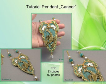 PDF tutorial pendant cancer Polymer clay pendant tutorial star sign Pendant tutorial Cancer pendant