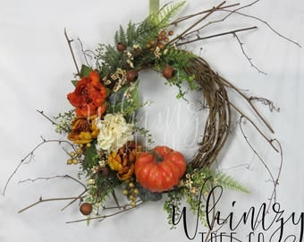 Fall Wreath for door-Autumn Wreath-Pumpkin Wreath-Front Door Wreath-Fall Pumpkin Wreath-Fall Wreath For Front Door-Fall Twig Wreath
