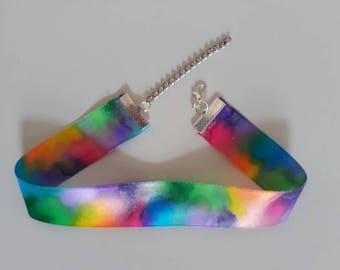 Rainbow tie dye ribbon choker