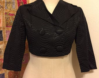 Vintage 1950's / 1960's Black Bolero Jacket