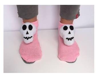 Halloween Slippers, knitted skeleton fanny socks frame Slippers, bone Slippers, atomy socks, skull socks, cranium slipper, crochet braincase