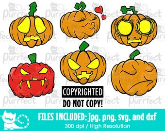 Halloween Pumpkin Bundle Pack SVG, Digital Cut Files in svg, dxf, png and jpg, Printable Clipart