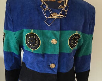 Vintage Clock Face Striped Jacket