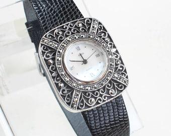 Sterling Silver Marcasite Watch Filigree Quartz Movement Leather Strap