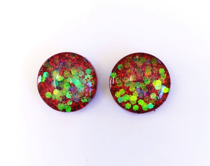 The 'Candy Cane' Glitter Glass Earring Studs