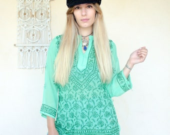 Vintage 70's Embroidered Tunic Top