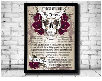 bff print, bff gift, 10 things i love, about you, true friend print, skull print, skull gift, good friend gift, true friends art, best mates