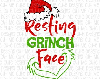 SVG DXF PNG cut file cricut silhouette cameo scrap booking Resting Grinch Face