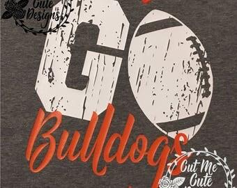 SVG DXF PNG cut file cricut silhouette cameo scrap booking Go Bulldogs Distressed Football