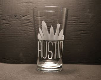 Etched Pint Glass Austin Skyline, Austin Gift, Texas, Austin, Souvenir gift, Made in Austin.