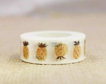 1 Piece Pineapple Pattern Washi Tape for DIY Decoration, Scrapbooking, Planner Masking, Adhesive Tape