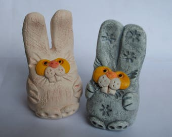 Ceramic figurine hare, Bunny ceramic, Statuette rabbit, Rabbit, Bunny, Hare, Ceramic miniatures, Small figurines, Little hare, funny bunny