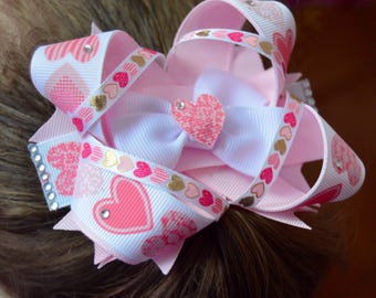 Pink Valentine's Day stacked boutique bow