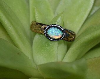 Alchemy Ring:   Hammered and Fused 14K Gold to Silver with Ethiopian Welo Opal