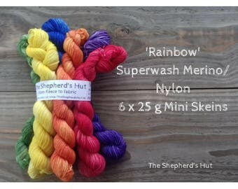 Superwash Merino/Nylon 80/20 Sock yarn Minis 6 x 25 g in 'Rainbow' colourway.