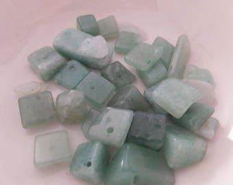 25+ pc Green Aventurine Chip Stone Beads asstd sizes