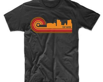 Retro Style Fort Wayne Indiana Skyline T-Shirt