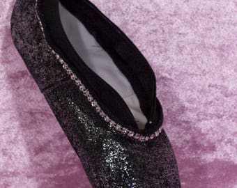Ballet shoe black with glitter silver purse made with a ballet shoe real processed Ballet shoe