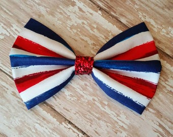 Red White and Blue Striped Bow