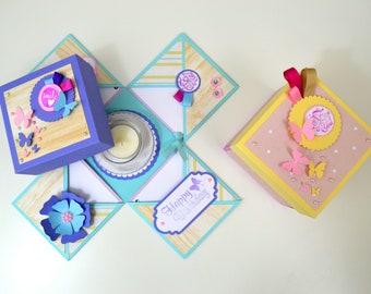 Exploding Box Kit + Tutorial / DIY Kit ( Explosion Box Card ) Gift Box Kit / Anniversary Gift Box / Birthday Gift Box / Valentines Gift Box